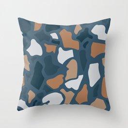 Abstract Terrazzo - Dark Blue Throw Pillow