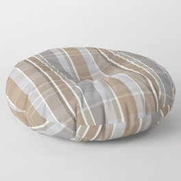 Winter, Plaid, Brown and Grey Floor Pillow