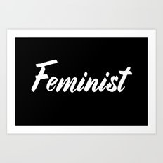 Feminist (on black) Art Print