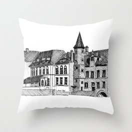 Bruges in Lines Throw Pillow