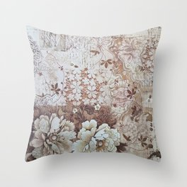 Rustic vintage ivory brown lace floral typography Throw Pillow