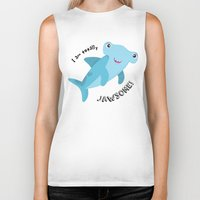 shark Biker Tanks featuring Shark by Michelle McCammon