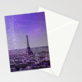 Paris Mon Amour Purple Mixed Media Art Stationery Cards