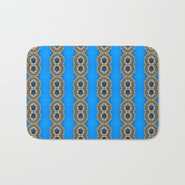 Beautiful Blue Beadwork Inspired Fashion Print Bath Mat