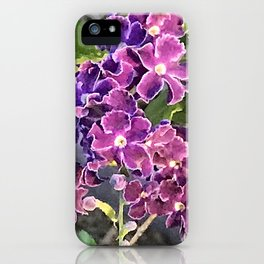 Magical Pink and Purple Periwinkle Flowers iPhone Case