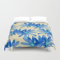 mercedes Duvet Covers featuring MATUCANA IN AQUAMARINE by Mercedes Olondriz