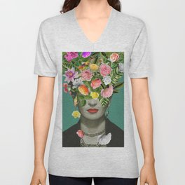Frida Floral Unisex V-Neck
