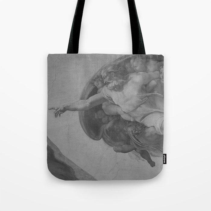 Black White Sistine Chapel Tote Bag