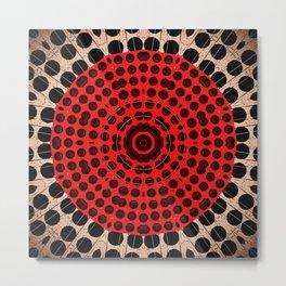 Bronze Red Black Mandala Circle Metal Print