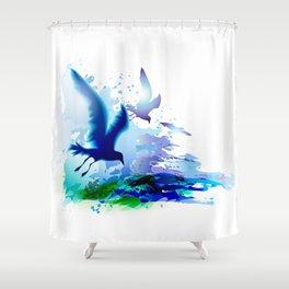 Birds flying. Sea, ocean watercolor gulls with waves. Dark blue water. Shower Curtain