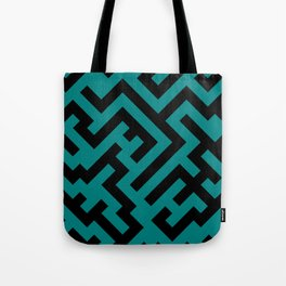 Black and Teal Green Diagonal Labyrinth Tote Bag