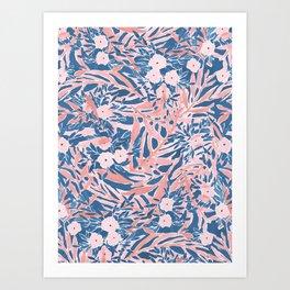 Tropical Daydream Coral Blue Art Print