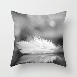 White Feather In Black And White Bokeh Background #decor #society6 #buyart Throw Pillow