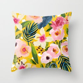 No Winter Lasts Forever; No Spring Skips It's Turn #painting #botanical Throw Pillow
