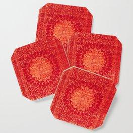 N69 - Oriental Heritage Vintage Orange Traditional Moroccan Farmhouse Style Artwork Coaster