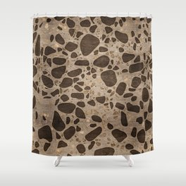 Terrazzo - Mosaic - Wooden texture and gold #6 Shower Curtain