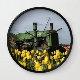 Working the Flower Fields Wall Clock