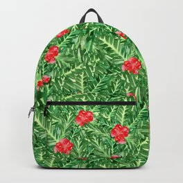 Holly Jolly Christmas Leaves & Berries (Small Pattern) Backpack