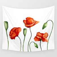 poppies Wall Tapestries featuring Poppies by Julia Badeeva