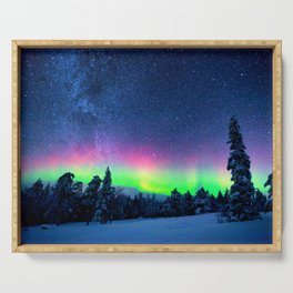Aurora Borealis Over Wintry Mountains Serving Tray