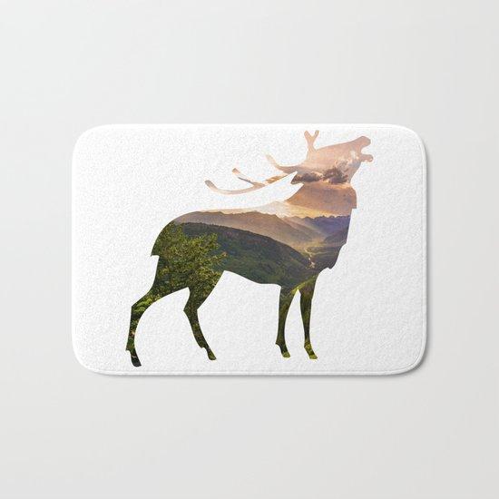 Elk Silhouette with Wilderness Inlay Bath Mat