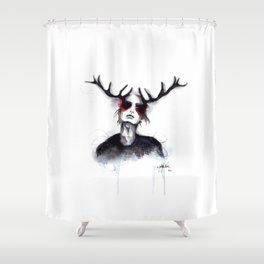 Antlers // Fashion Illustration Shower Curtain