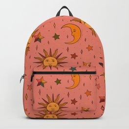 Folk Moon and Star Print Backpack