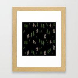 Sasquatch forest woodland mythic animal nature pattern cute kids design forest Framed Art Print