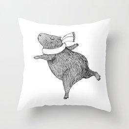 CAPYBARA ENJOYS WINTER Throw Pillow