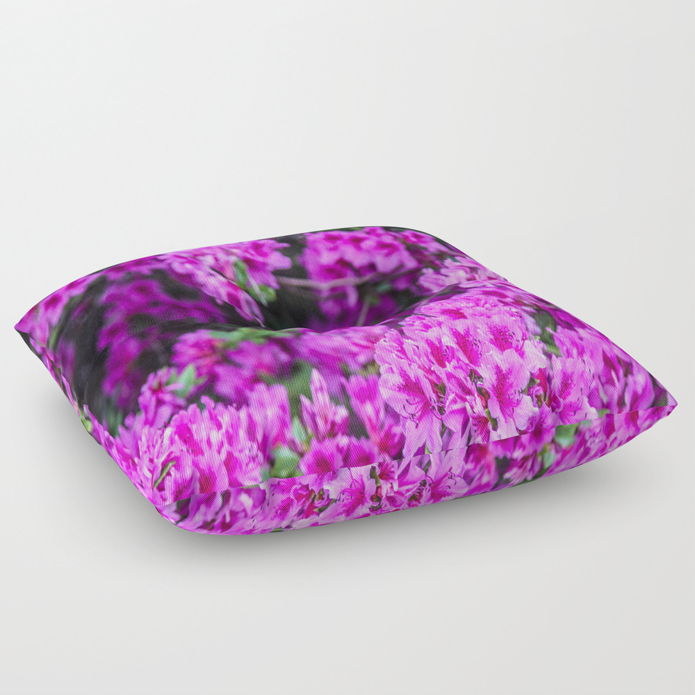 Neon Pink Square Floor Pillow by Shewhospeakswithtrees FPL7635814