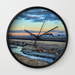 Moonset Over Iowa Wall Clock