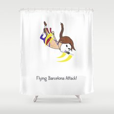 Flying Barcelona Attack Shower Curtain