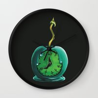 haunted mansion Wall Clocks featuring Haunted Mansion 13th Hour Clock Apple by ArtisticAtrocities