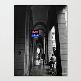 Bar Tabacchi in Bologna Black and White Color Splash Photography Canvas Print