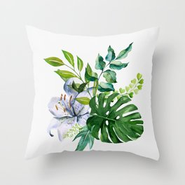 Flower and Leaves Throw Pillow