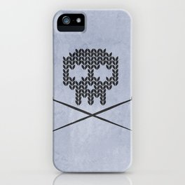 Knitted Skull (Black on Faded Periwinkle) iPhone Case