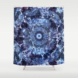 Iris Mandala Blue Shower Curtain