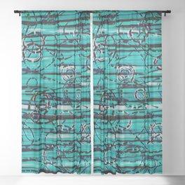 Loopy in Teal Sheer Curtain