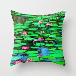 Homage to Ponds, Lilies and Lily Pads Throw Pillow