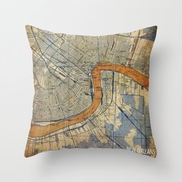 New Orleans Louisiana 1932 vintage map, NO old colorful artwork Throw Pillow