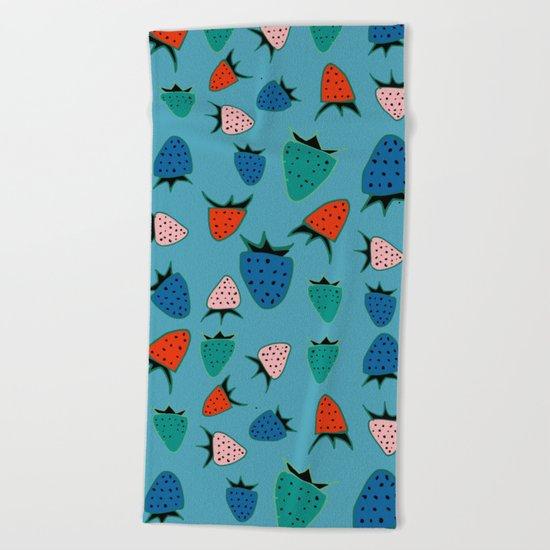 strawberry blue Beach Towel