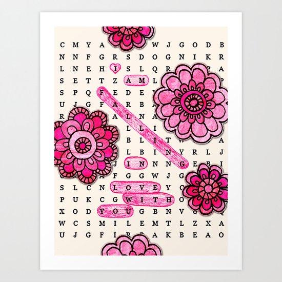 Wordsearch LOVE: Falling Art Print