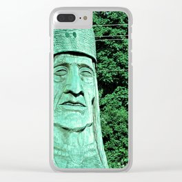 Whispering Giants, Native American Sculpture, Wood Carving, Portrait Clear iPhone Case
