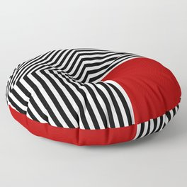 Geometric abstraction, black and white stripes, red square Floor Pillow