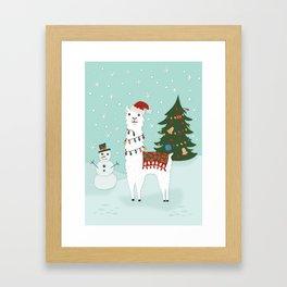 Santa Llama with Christmas Tree Framed Art Print
