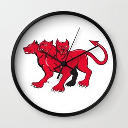 Cerberus Multi-headed Dog Hellhound Cartoon Wall Clock