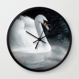 Fantasy swan on misty lake Wall Clock
