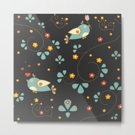 Bird Seamless Pattern. Bullfinch birds  Metal Print