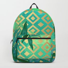 Pattern geometric gold and leaf Backpack