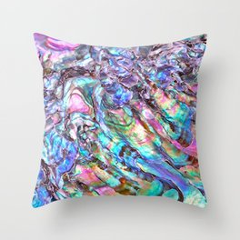 Shimmery Rainbow Abalone Mother of Pearl Throw Pillow